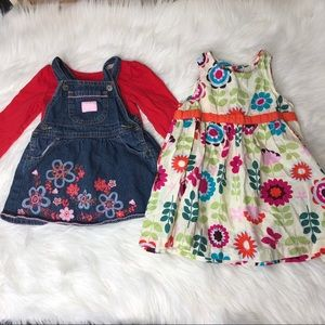 Baby Girls Lot of 2 Dresses Size 12 Months